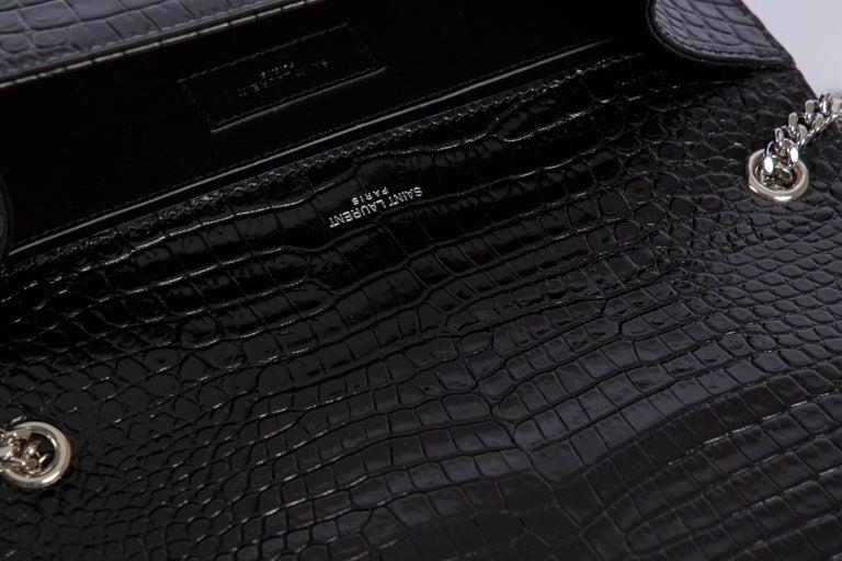 Yves Saint Laurent YSL Crocodile Embossed Black Patent Bag For Sale 3