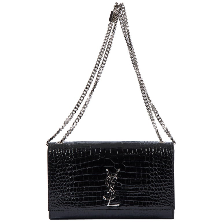 Yves Saint Laurent YSL Crocodile Embossed Black Patent Bag For Sale