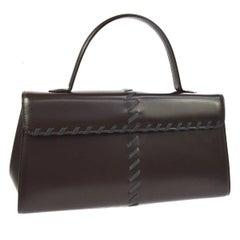 Yves Saint Laurent YSL Dark Brown Chocolate Evening Top Handle Satchel Bag