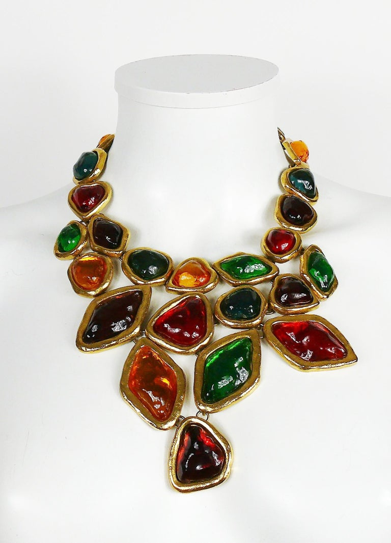 YVES SAINT LAURENT dramatic multi jewelled plastron necklace and earring set featuring vibrant multi colour poured resin stones and cabochons in a gold toned setting.  One of the most amazing YVES SAINT LAURENT costume jewelry set