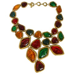Yves Saint Laurent YSL Dramatic Multi Jewelled Plastron Necklace