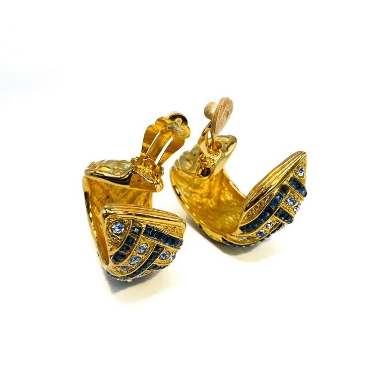 YVES SAINT LAURENT YSL Earrings Vintage 1980s Clip On For Sale 1