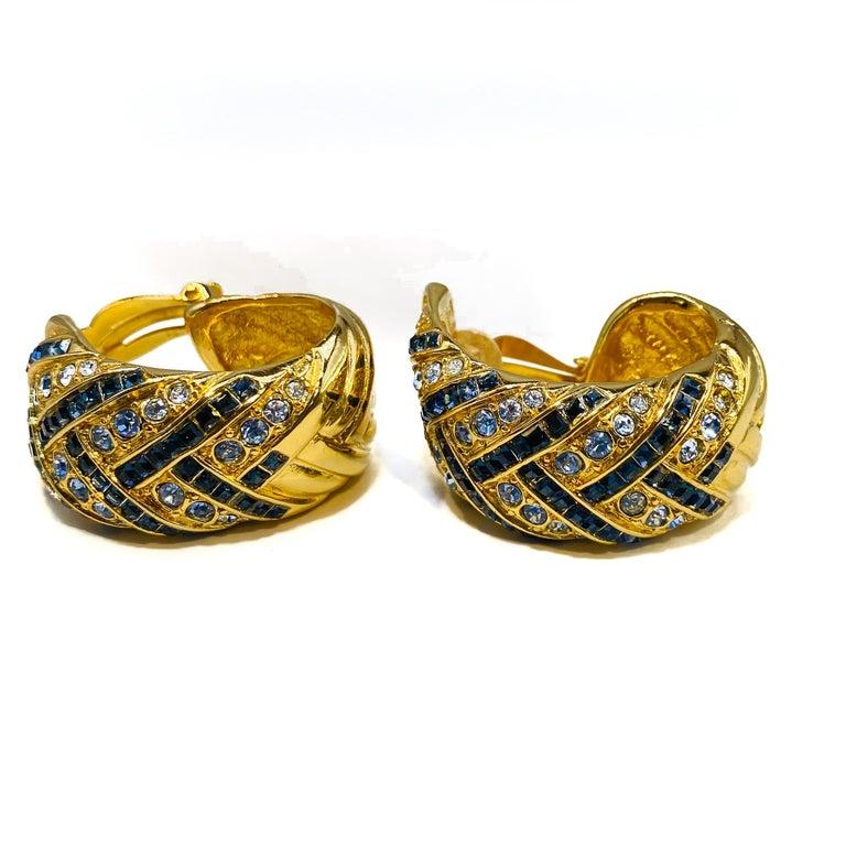YVES SAINT LAURENT YSL Earrings Vintage 1980s Clip On For Sale 2