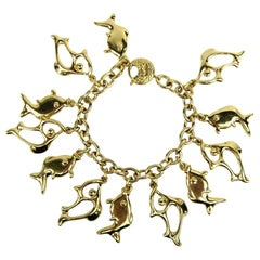 Yves Saint Laurent YSL Fish Charm Bracelet New Never worn 1980s