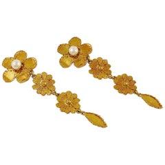 Yves Saint Laurent YSL Floral Pearl Dangling Earrings