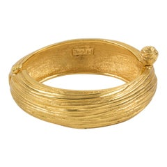 Yves Saint Laurent YSL Gilt Metal Clamper Bracelet