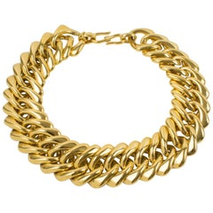 Yves Saint Laurent YSL Gilt Metal Massive Chain Necklace