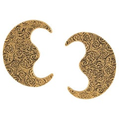 Yves Saint Laurent YSL Gold Tone Large Moon Earrings, 1980s