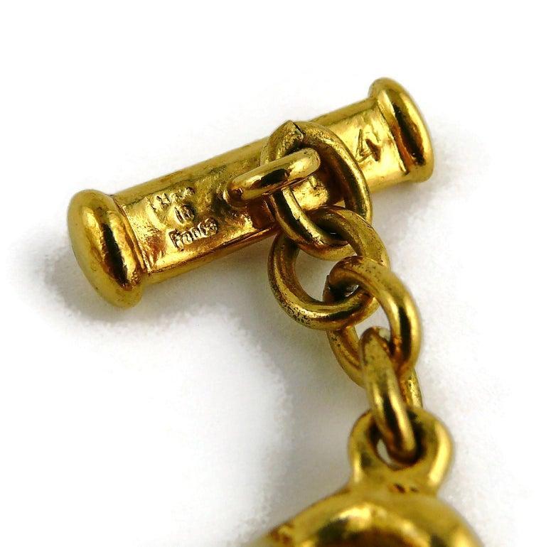 Yves Saint Laurent YSL Gold Toned Mythological Creature Medallion Necklace For Sale 8