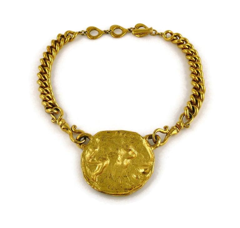 Yves Saint Laurent YSL Gold Toned Mythological Creature Medallion Necklace For Sale 6