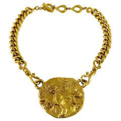 Yves Saint Laurent YSL Gold Toned Mythological Creature Medallion Necklace