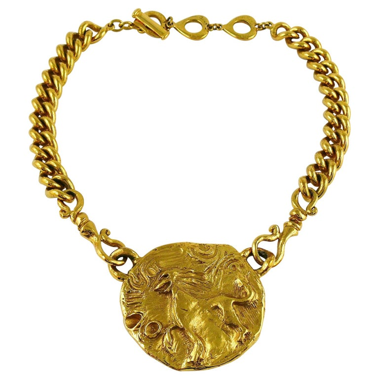 Yves Saint Laurent YSL Gold Toned Mythological Creature Medallion Necklace For Sale