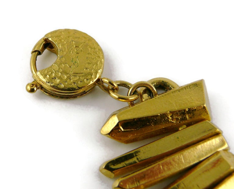 Yves Saint Laurent YSL Gold Toned Rock Crystal Prism Necklace 7