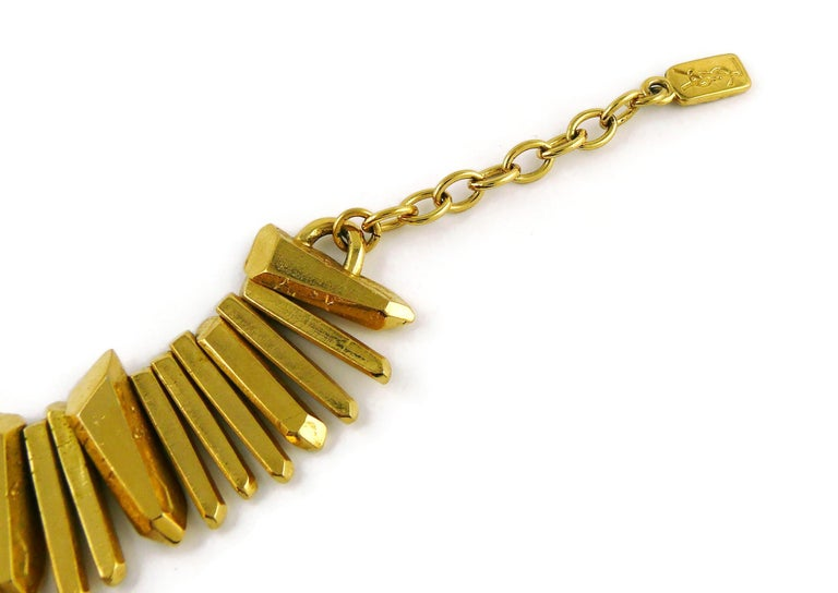 Yves Saint Laurent YSL Gold Toned Rock Crystal Prism Necklace In Good Condition In Nice, FR