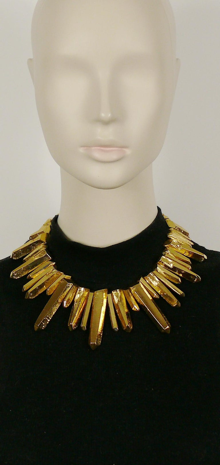YVES SAINT LAURENT by ROBERT GOOSSENS vintage rare chunky gold toned rock crystal like prism necklace.  Hook clasp closure. Adjustable length.  Embossed YSL Made in France.  Indicative measurements : adjustable length from approx. 40 cm (15.75