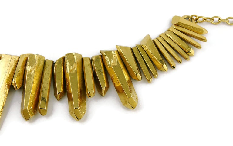 Women's Yves Saint Laurent YSL Gold Toned Rock Crystal Prism Necklace