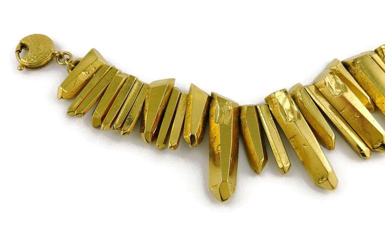 Yves Saint Laurent YSL Gold Toned Rock Crystal Prism Necklace 3