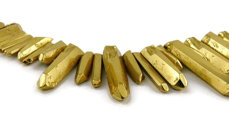 Yves Saint Laurent YSL Gold Toned Rock Crystal Prism Necklace 4