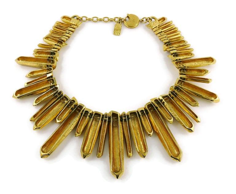 Yves Saint Laurent YSL Gold Toned Rock Crystal Prism Necklace 6