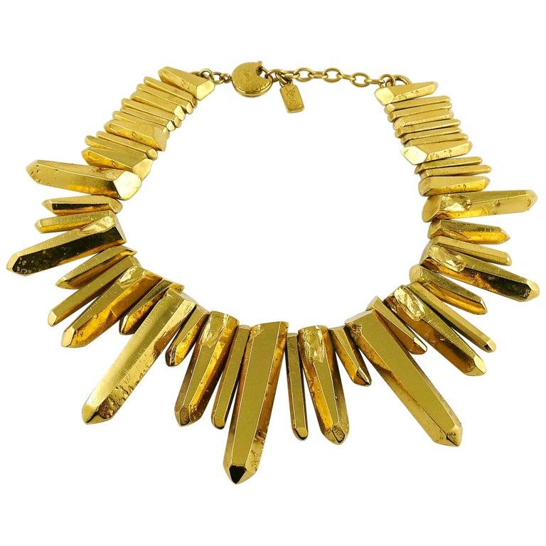 Yves Saint Laurent YSL Gold Toned Rock Crystal Prism Necklace