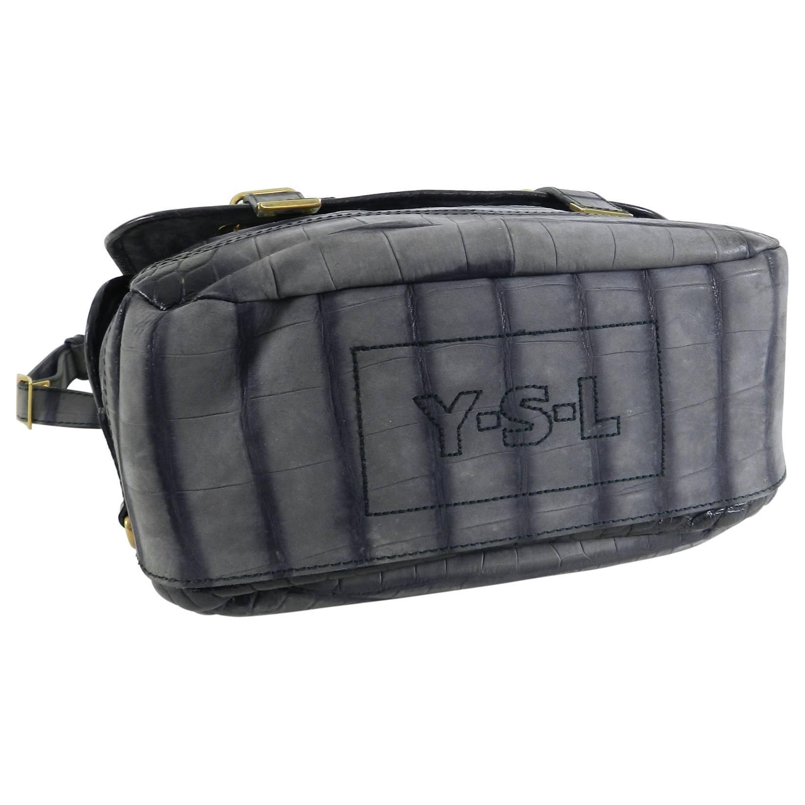 aa42c9abc083 Yves Saint Laurent YSL Grey Faux Crocodile Grained Shoulder Bag at 1stdibs