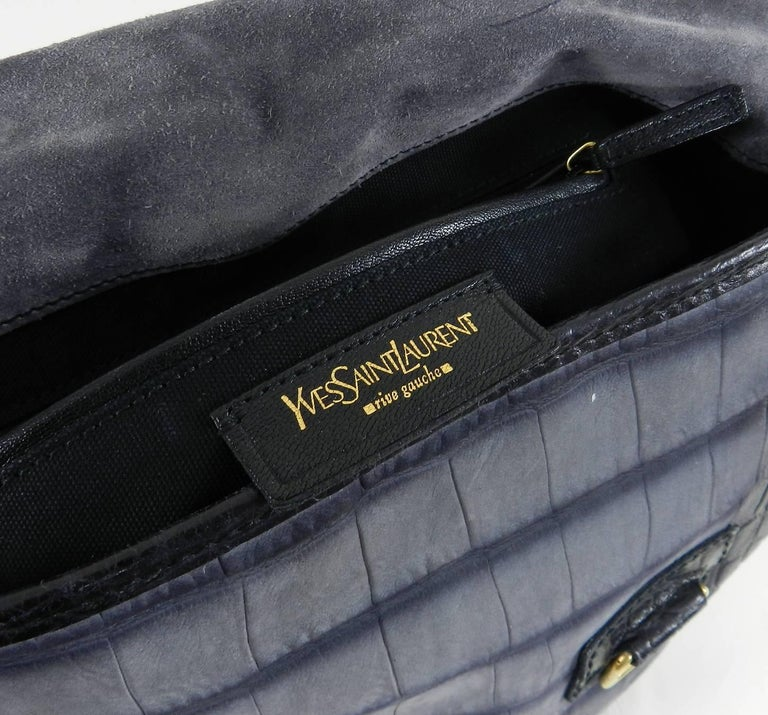 2b7dea37ca63 Yves Saint Laurent YSL Grey Faux Crocodile Grained Shoulder Bag For Sale 2