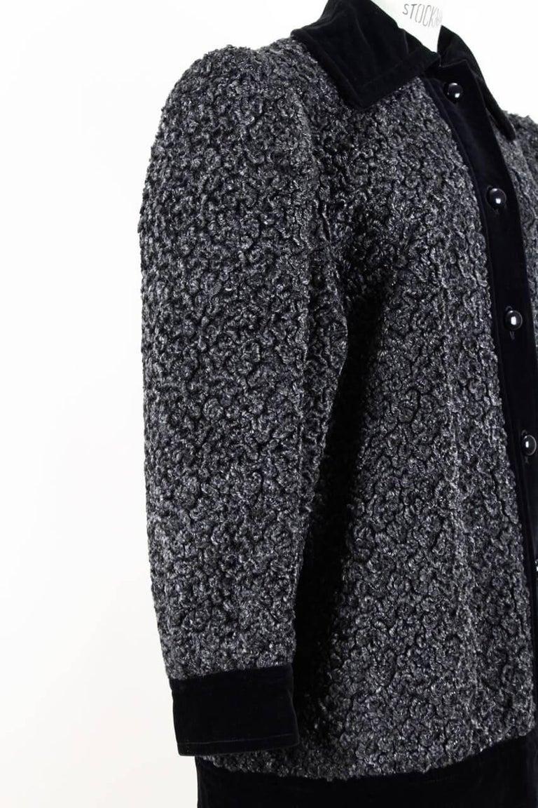 4310c2c071e8e Yves Saint Laurent YSL Grey Faux Fur Persian Lamb and Black Velvet Jacket