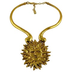 Yves Saint Laurent YSL Iconic Vintage Sun Face Chocker Necklace