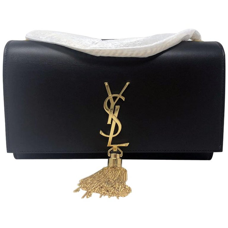 Yves Saint Laurent Ysl Kate Medium Black Tassel Bag In