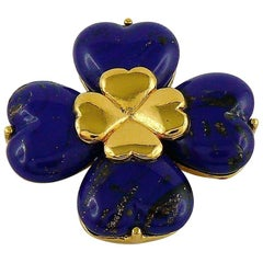 7a1fdd41aad Yves Saint Laurent YSL Lapis Lazuli Glass Cabochon Clover Brooch Pendant