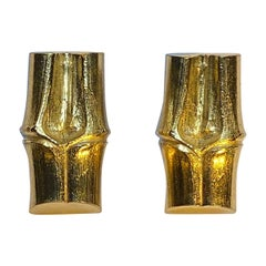 Yves Saint Laurent YSL Large Gold Bamboo Stalk Earrings