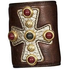 Yves Saint Laurent YSL Maltese Cross Cabochon Leather Cuff Bracelet