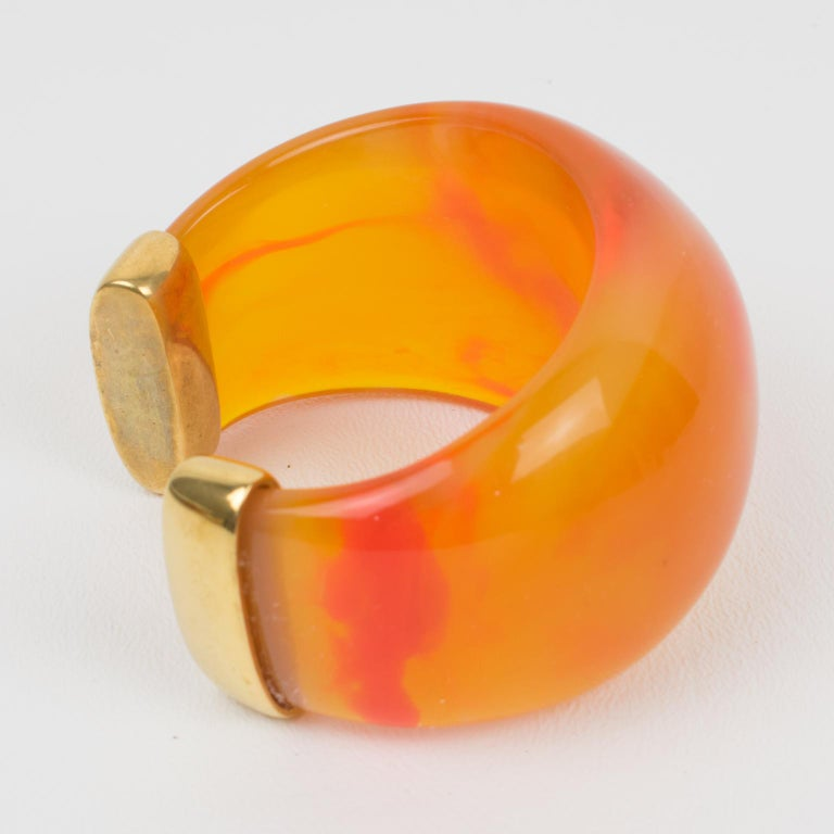 Yves Saint Laurent YSL Massive Orange Resin Cuff Bracelet In Excellent Condition For Sale In Atlanta, GA