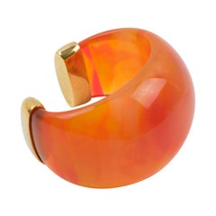Yves Saint Laurent YSL Massive Orange Resin Cuff Bracelet
