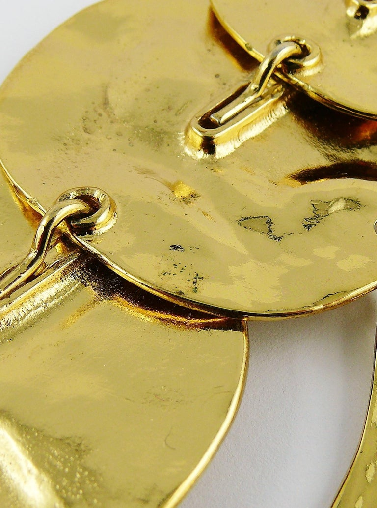 Yves Saint Laurent YSL Opulent Gold Toned Crumpled Discs Necklace For Sale 11