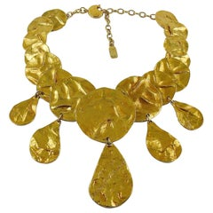 Yves Saint Laurent YSL Opulent Gold Toned Crumpled Discs Necklace