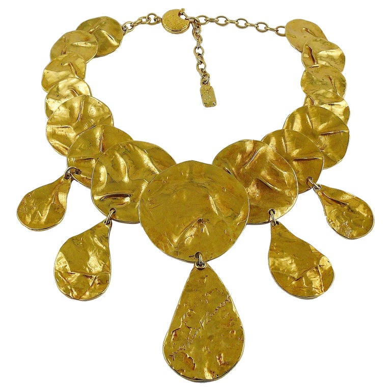 Yves Saint Laurent YSL Opulent Gold Toned Crumpled Discs Necklace For Sale