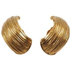 Yves Saint Laurent YSL Paris Clip on Earrings Textured Gilt Metal Half Hoop