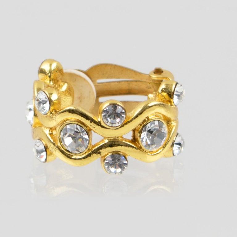 Yves Saint Laurent YSL Paris Jeweled Hoop Clip Earrings For Sale 6