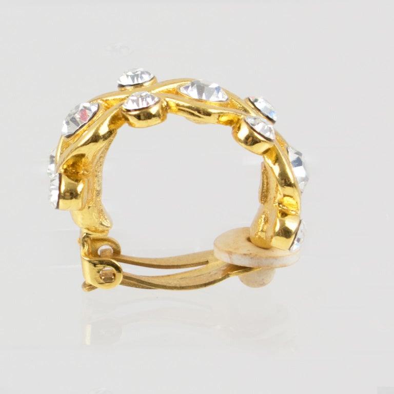 Yves Saint Laurent YSL Paris Jeweled Hoop Clip Earrings For Sale 7