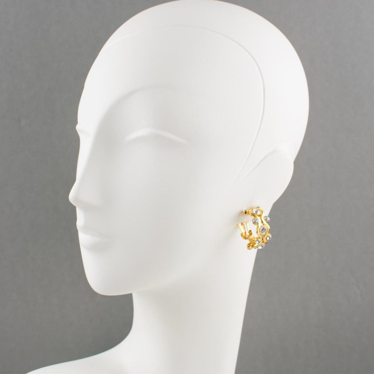 Yves Saint Laurent YSL Paris Jeweled Hoop Clip Earrings In Excellent Condition For Sale In Atlanta, GA