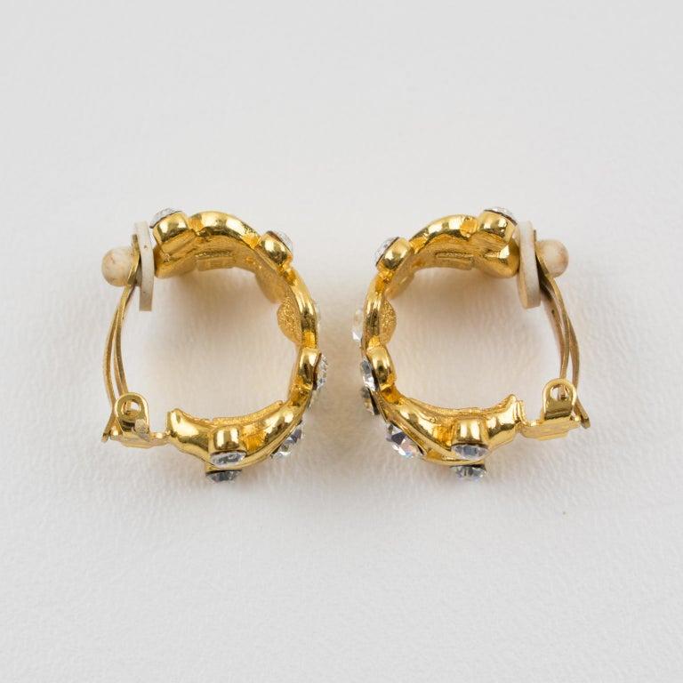 Women's or Men's Yves Saint Laurent YSL Paris Jeweled Hoop Clip Earrings For Sale