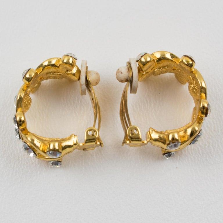 Yves Saint Laurent YSL Paris Jeweled Hoop Clip Earrings For Sale 1
