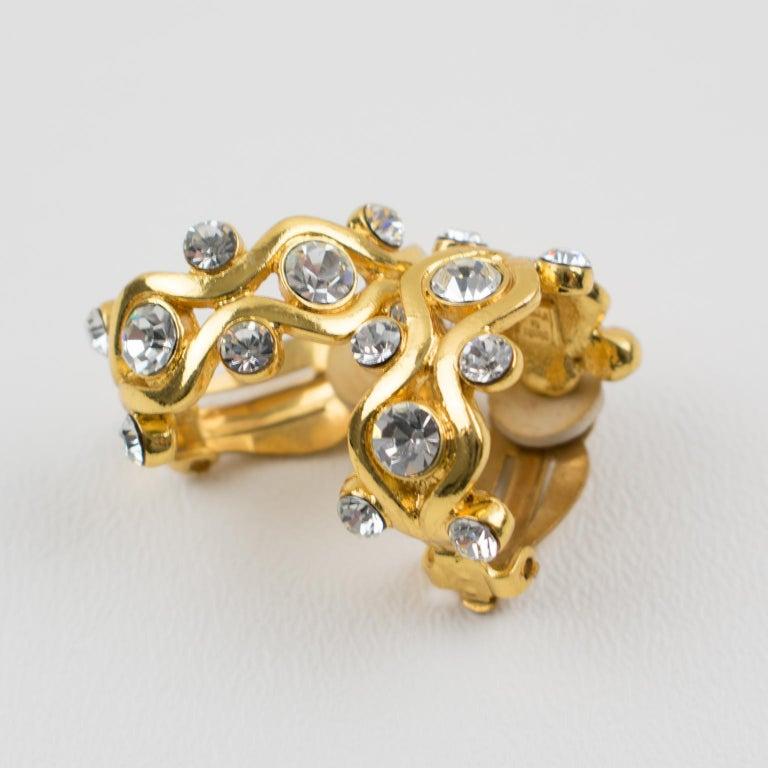 Yves Saint Laurent YSL Paris Jeweled Hoop Clip Earrings For Sale 2