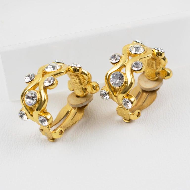 Yves Saint Laurent YSL Paris Jeweled Hoop Clip Earrings For Sale 3
