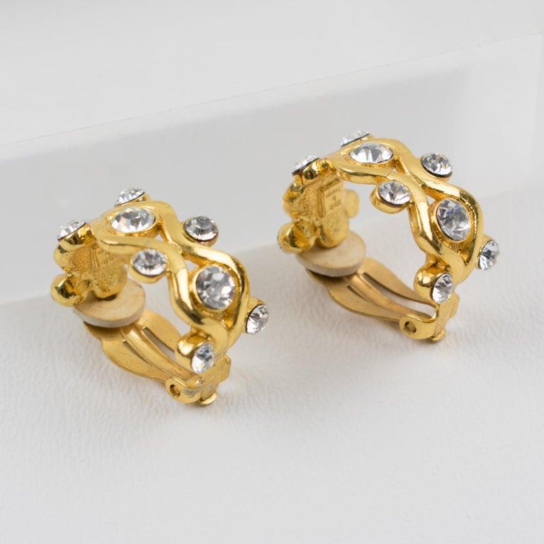Yves Saint Laurent YSL Paris Jeweled Hoop Clip Earrings For Sale 4