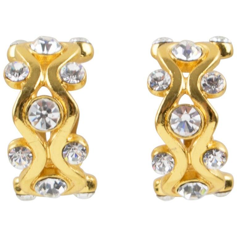 Yves Saint Laurent YSL Paris Jeweled Hoop Clip Earrings For Sale