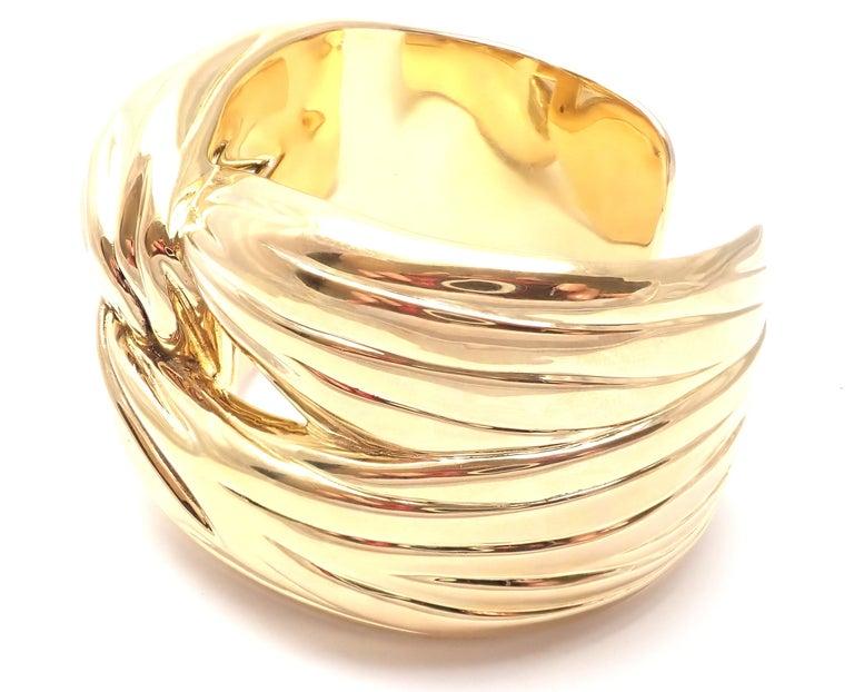 Yves Saint Laurent YSL Paris Solid Yellow Gold Cuff Bracelet For Sale 6