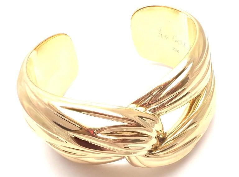 Yves Saint Laurent YSL Paris Solid Yellow Gold Cuff Bracelet For Sale 7
