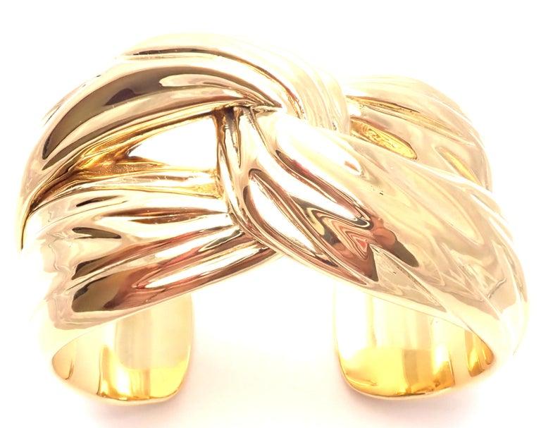 Yves Saint Laurent YSL Paris Solid Yellow Gold Cuff Bracelet For Sale 8